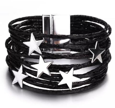 Star Wrap Bracelet - Black