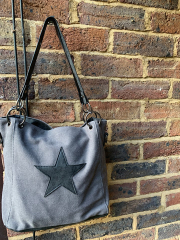 SECOND Small Star Chain Canvas Bag - grey