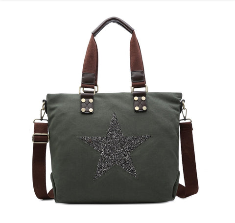 Medium Crystal Encrusted Canvas Star Bag - Olive Green