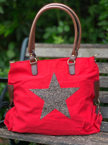 Large Crystal Encrusted Canvas Star Bag - Lobster Red
