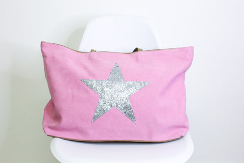 Glitter Star Overnight Bag - Pink