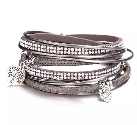 Faux Leather Crystal & Charm Wrap Bracelet - Silver Grey