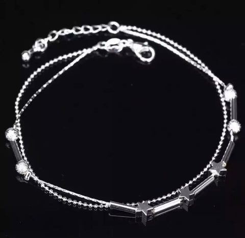 Star Chain Anklet - Silver