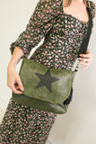 Leather Effect Messenger Bag - Vintage Olive