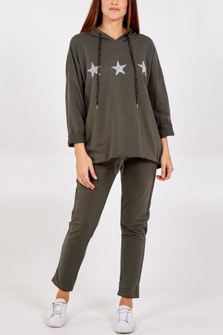 SECOND Glitter Star Hoodie Lounge Set - Khaki