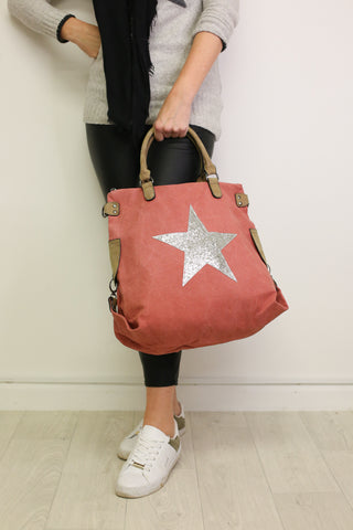 Glitter Star Shoulder Bag - Coral