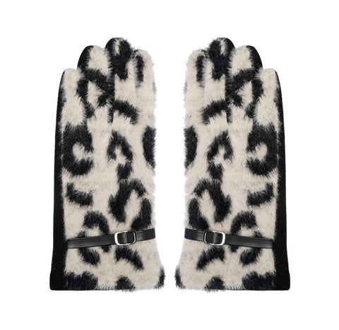 Faux Fur Animal Print Gloves - Beige