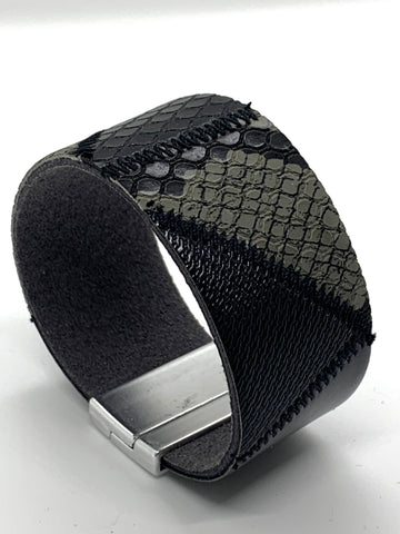 Mosaic Wrap Bracelet - Grey / Black