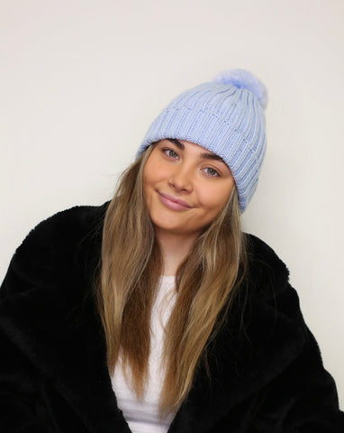 Ribbed Pom Pom Hat - Soft Blue