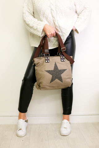 Medium Crystal Encrusted Canvas Star Bag - Khaki