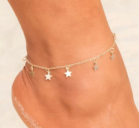 Scatter Star Anklet - Gold