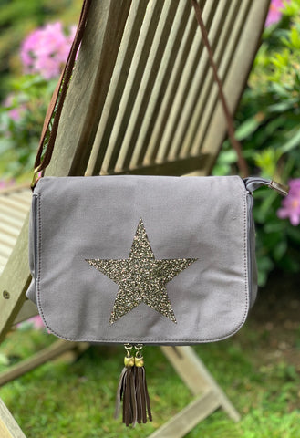 Crystal Encrusted Messenger Bag - Grey