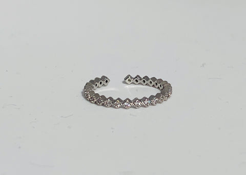 Crystal String Ring - Silver