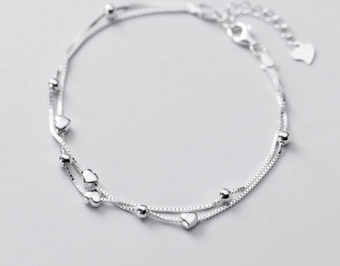 Sterling Silver Heart String Bracelet
