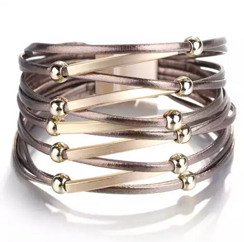 Faux Leather Bar and Ball Wrap Bracelet - Copper