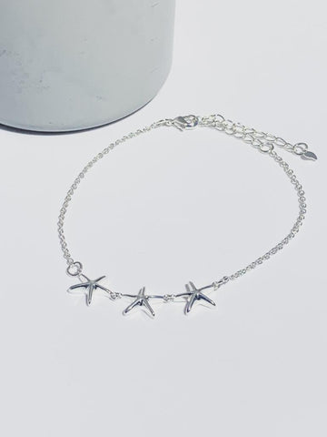 Triple Starfish Anklet - Silver