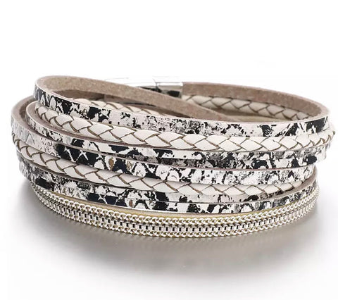 Faux Leather Snakeprint Wrap Bracelet - Cream