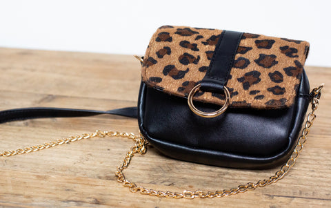 Leopard Print 2-in-One Bag (Cross Body and Belt Bag) - Black