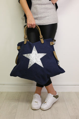 Glitter Star Shoulder Bag - Midnight Blue