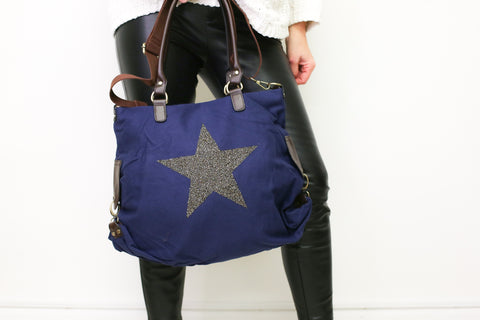 Large Crystal Encrusted Canvas Star Bag - Midnight Blue