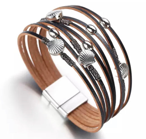 Faux Leather Shell Wrap Bracelet - Black / Grey