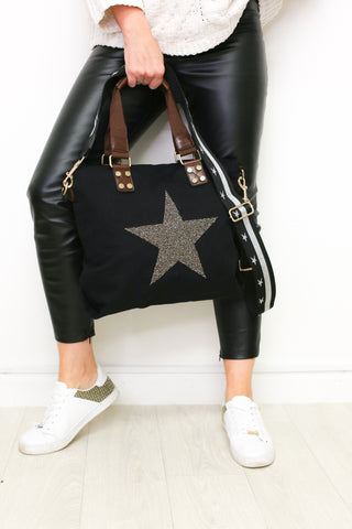 Medium Crystal Encrusted Canvas Star Bag - Black