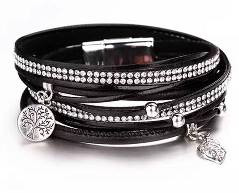 Faux Leather Crystal & Charm Wrap Bracelet - Black