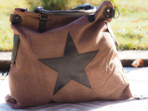 Large Star Canvas Bag - Chocolate