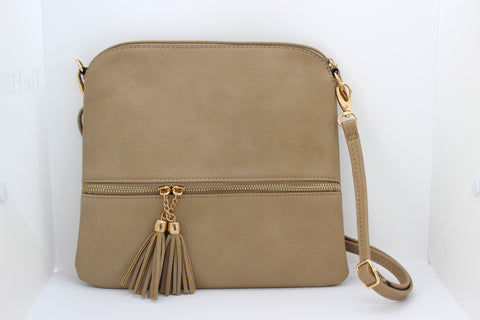 Leather-Effect Tassel Cross Body Bag - Camel