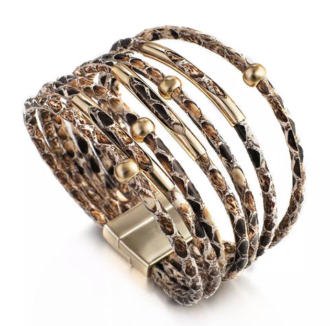 Snakeskin Wrap Bracelet - Brown & Gold