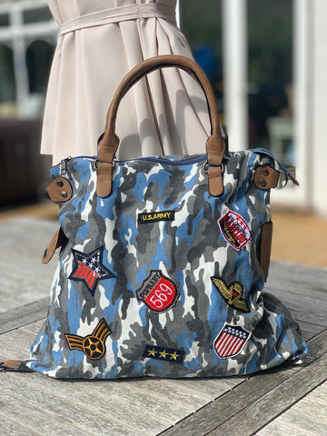 Large Camo Shoulder Bag - Blue
