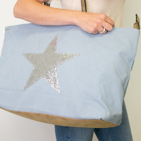 SECOND Glitter Star Overnight Bag - Pale Blue