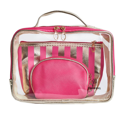 Three-In-One Makeup Bag - Hot Pink