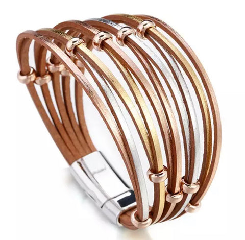 Faux Leather Ring Twist Bracelet - Silver, Gold & Rose Gold