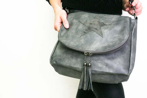 Leather Effect Messenger Bag - Grey (Vintage Grey Star)
