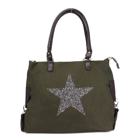 SECOND Large Crystal Encrusted Canvas Star Bag - Olive Green