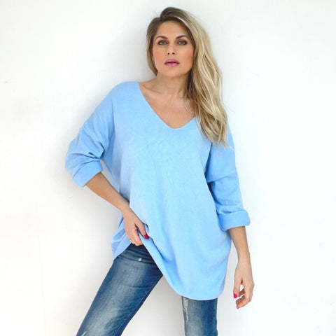 Mary Reverse Star Sweater - Pale Blue