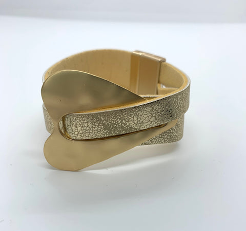 Heart Deco Wrap Bracelet - Antique Gold