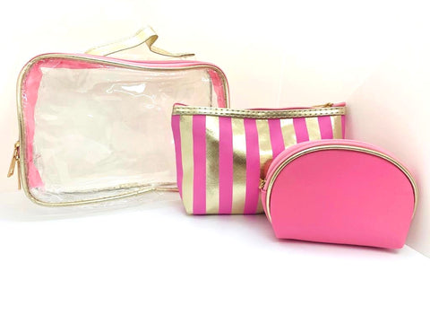 Three-In-One Makeup Bag - Baby Pink