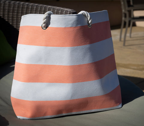 Peach Striped Canvas Beach Bag