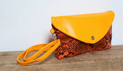Snakeprint Festival Bag - Neon Orange
