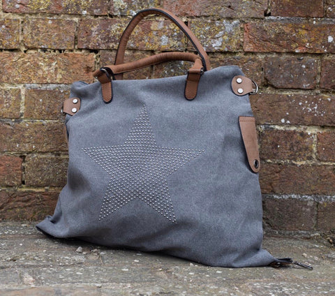 SECOND Large Stud Star Bag - Vintage Grey