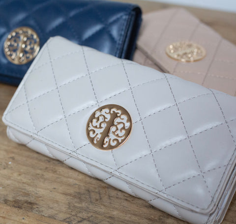 Quilted Purse - Pale Grey