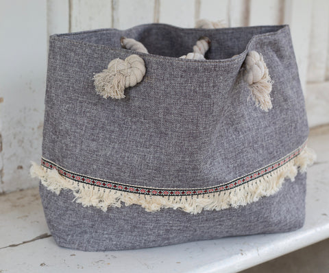 Grey Frill Canvas Beach Bag