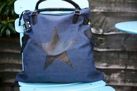 SECOND Large Star Canvas Bag - Midnight Blue