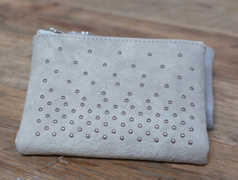Aileen Soft Stud Wallet - Silver Grey
