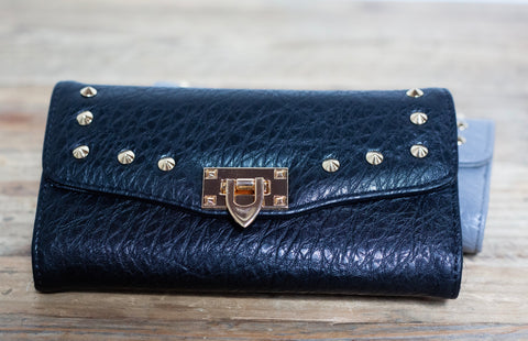 Quilted Stud Wallet - Black