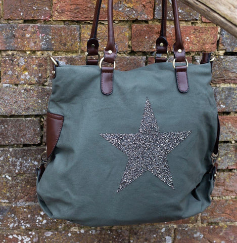 Large Crystal Encrusted Canvas Star Bag - Sea Green