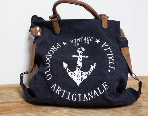 """Vintage"" Anchor Large Canvas Bag - Black"