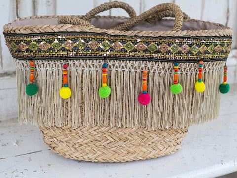 Fringed Pom Pom Basket Beach Bag